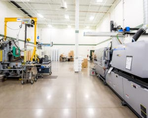 Environmentally controlled, molding room